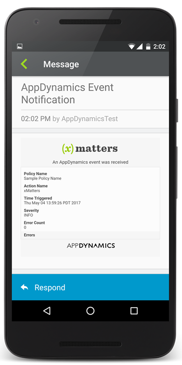 when events meet predetermined criteria this integration with xmatters relays critical appdynamics insight data to the correct people and systems to help